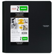 Five Star 2 Inch 3 Ring Binder, Plastic, Black (73298)