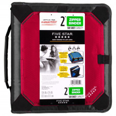 Five Star Zipper Binder with Expansion Panel, 3 Ring Binder, 2 Inch, Red (73291)