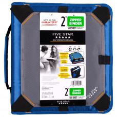 Five Star Zipper Binder with Expansion Panel, 3 Ring Binder, 2 Inch, Blue (73293)