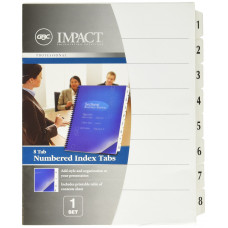 GBC Impact Numbered Index Tabs, 1 Set of 8 Tabs, White (25161P)